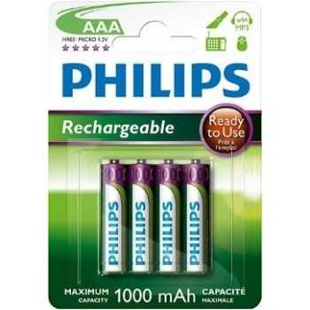 Philips Lot de 4 piles rechargeables HR03 AAA 1,2 V 950 mah