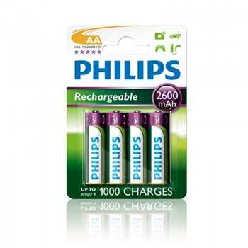 4x Piles PHILIPS B4 Rechargeable AA 2600mAh