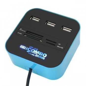 Combo HUB USB 3 Ports + Lecteur de Cartes