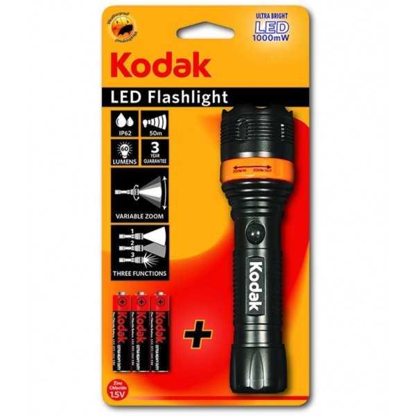 Torche Kodak LED Flashlight 157 Focus + 3 Piles AAA
