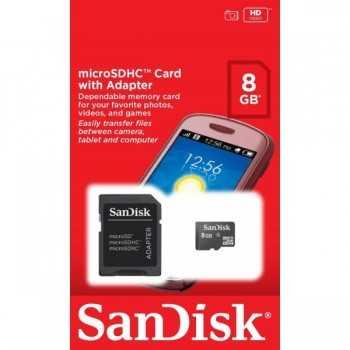 Carte Mémoire Sandisk micro SDHC avec Adaptateur 8Go