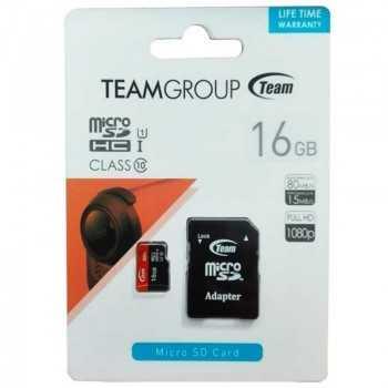 Carte Mémoire TEAM GROUP 16Go Micro SDHC Class 10 avec Adaptateur
