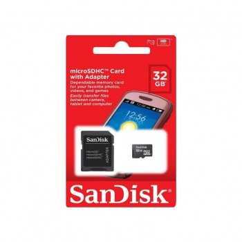 Carte Mémoire Sandisk micro SDHC avec Adaptateur 16Go